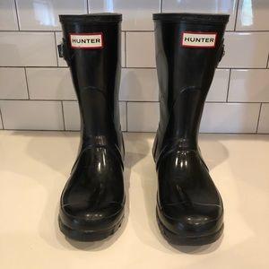 Black Hunter High Gloss, mid calf rain boots